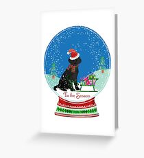 Cute Black Lab Christmas Snow Globe  Greeting Card