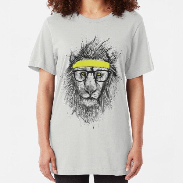 Hipster lion Slim Fit T-Shirt