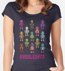 GoggleBots - robot pattern on Blue by Cecca Designs Women's Fitted Scoop T-Shirt