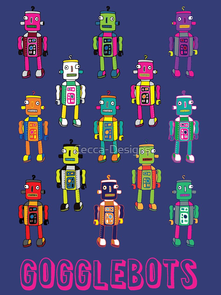 GoggleBots - robot pattern on Blue by Cecca Designs by Cecca-Designs