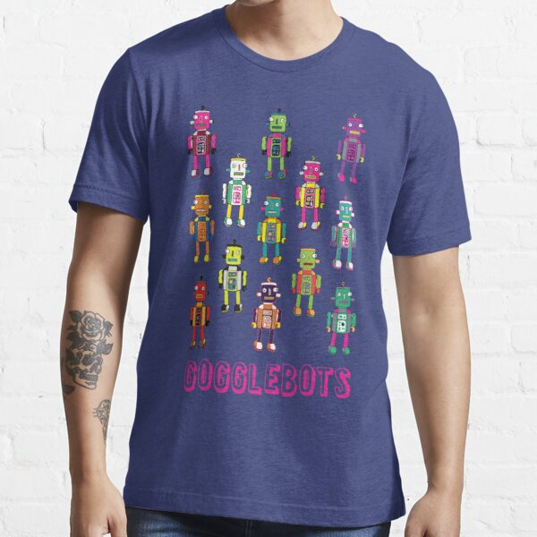 GoggleBots - robot pattern on Blue by Cecca Designs Essential T-Shirt