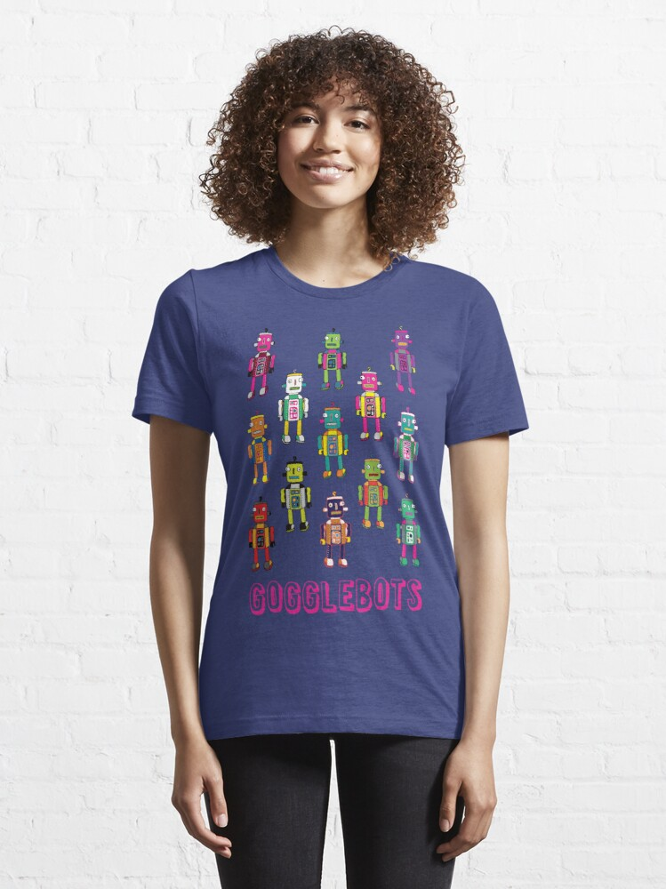 Alternate view of GoggleBots - robot pattern on Blue by Cecca Designs Essential T-Shirt