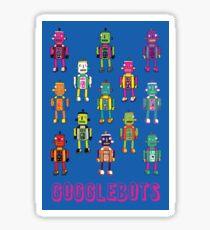 GoggleBots - robot pattern on Blue by Cecca Designs Sticker