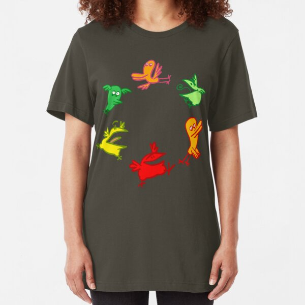 We Are The Birdies!! Cartoon Birds by Cheerful Madness!! Slim Fit T-Shirt