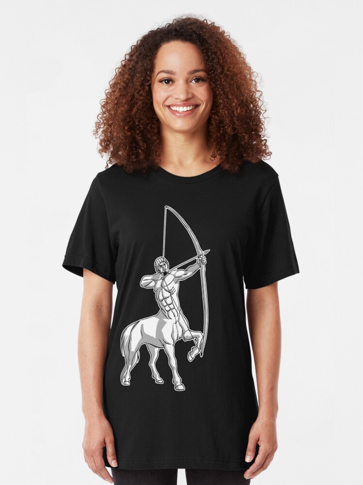 Alternate view of White Centaur Aiming High T-Shirt by Cheerful Madness!! Slim Fit T-Shirt