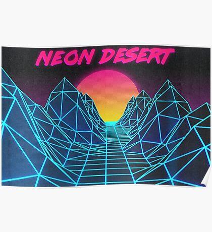Neon Desert: Retro 80s art Poster