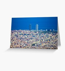 Barcelona City, Drone View Greeting Card