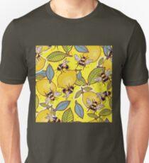 Yellow lemon and bee garden. Unisex T-Shirt