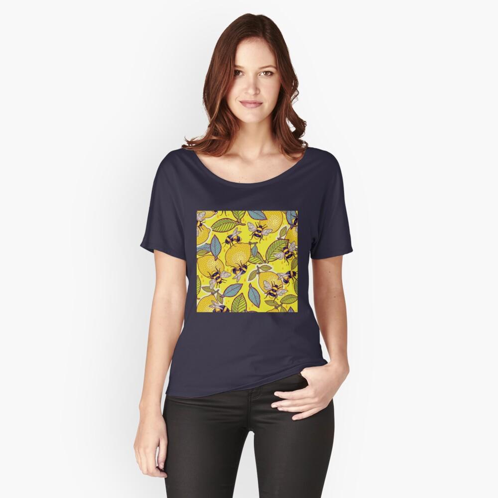 Amarillo limón y jardín de abejas. Camiseta ancha