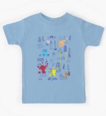 History of Art (blue artlines, w/ paint splashes) Kids Tee