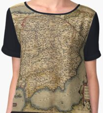 Antique Map of Spain, by Abraham Ortelius, circa 1570 Women's Chiffon Top