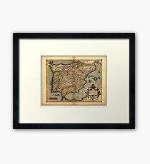 Antique Map of Spain, by Abraham Ortelius, circa 1570 Framed Print