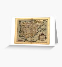 Antique Map of Spain, by Abraham Ortelius, circa 1570 Greeting Card