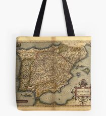 Antique Map of Spain, by Abraham Ortelius, circa 1570 Tote Bag
