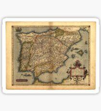 Antique Map of Spain, by Abraham Ortelius, circa 1570 Sticker
