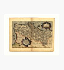 Antique Map of Portugal, by Abraham Ortelius, circa 1570 Art Print