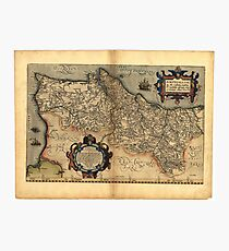 Antique Map of Portugal, by Abraham Ortelius, circa 1570 Photographic Print