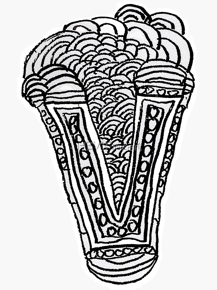 Upper case black and white alphabet Letter V by HEVIFineart