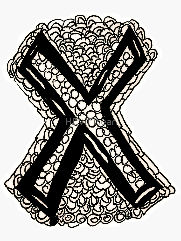 Upper case black and white alphabet Letter X by HEVIFineart