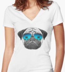 Pug Dog with sunglasses Women's Fitted V-Neck T-Shirt