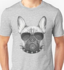 French Bulldog with collar and sunglasses Unisex T-Shirt