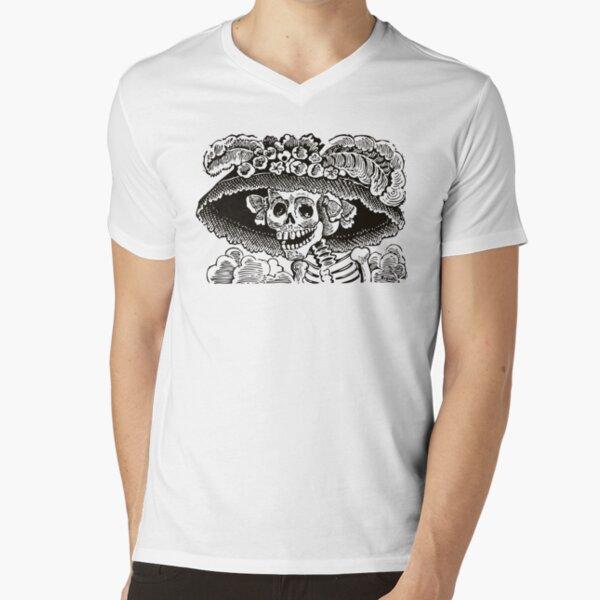 Calavera Catrina | Day of the Dead | Dia de los Muertos | Skulls and Skeletons | Vintage Skeletons | Black and White |  V-Neck T-Shirt