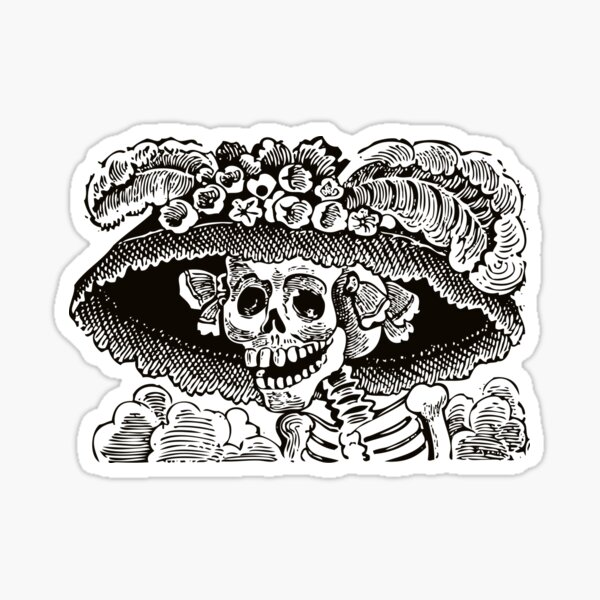 Calavera Catrina | Day of the Dead | Dia de los Muertos | Skulls and Skeletons | Vintage Skeletons | Black and White |  Sticker