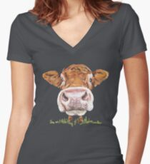 Cute Cow Women's Fitted V-Neck T-Shirt