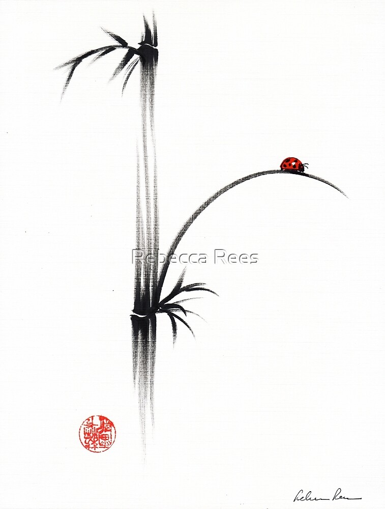 """Little Sunshine""  Original ink brush pen ladybug bamboo painting by Rebecca Rees"