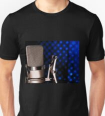 Silver microphone on black and blue background T-Shirt
