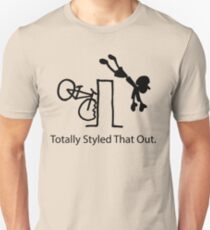 "MTB Cycling Crash ""Styled That Out"" Cartoon Unisex T-Shirt"