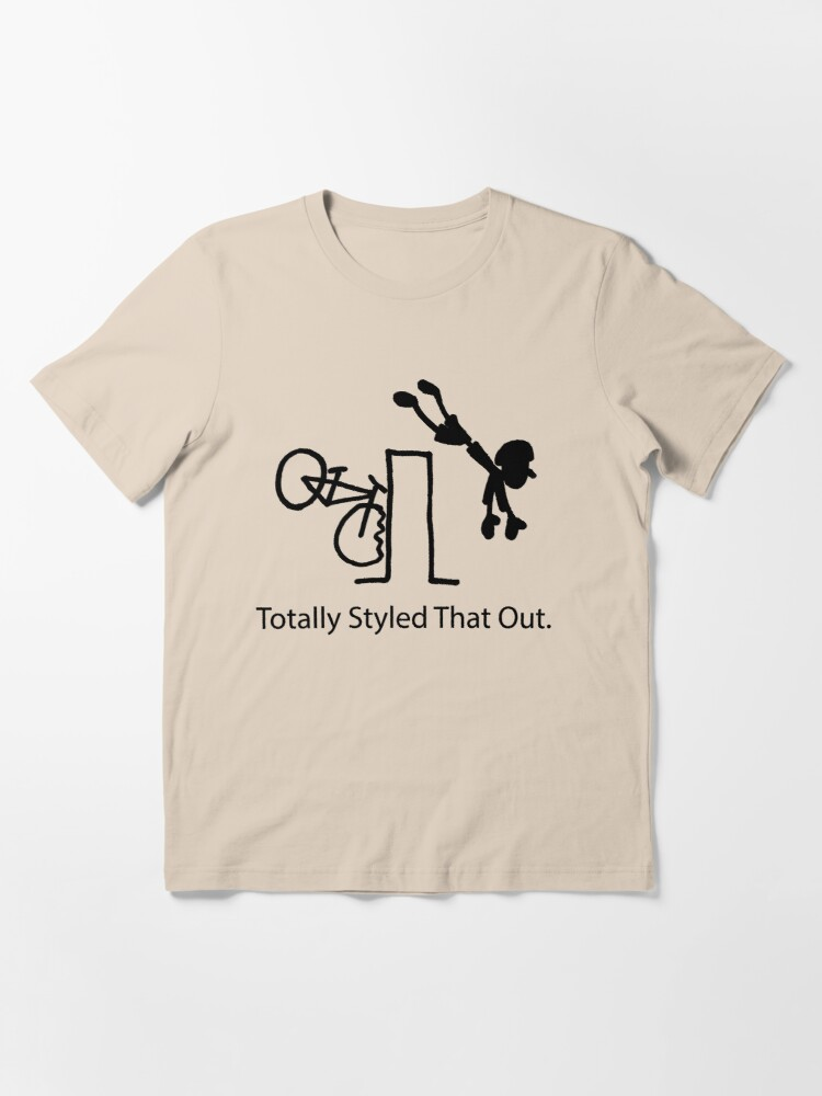 """Alternate view of MTB Cycling Crash """"Styled That Out"""" Cartoon Essential T-Shirt"""