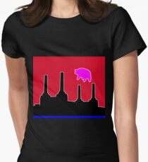 PINK FLOYD FLYING PIG OVER BATTERSEA Women's Fitted T-Shirt