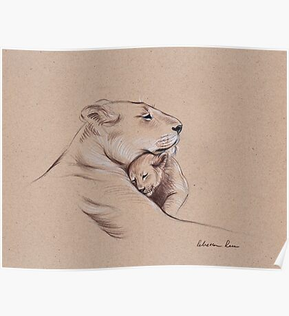 """""""A Mother's Pride"""" Lioness and cub original pencil drawing. Poster"""
