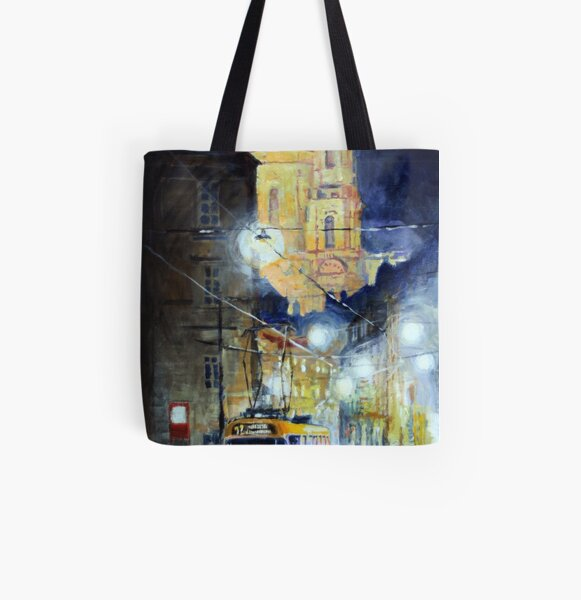 Midnight Tram  Prague  Karmelitska str All Over Print Tote Bag