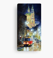 Midnight Tram  Prague  Karmelitska str Canvas Print