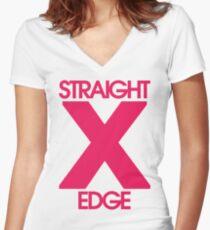 Straightedge (magenta) Women's Fitted V-Neck T-Shirt