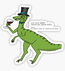 Wine Connoisseur Dinosaur Cartoon Illustration Sticker