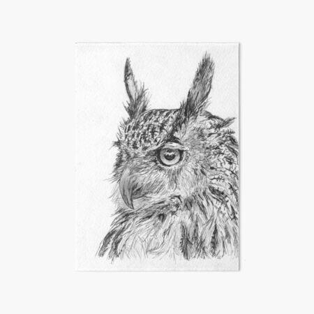 Owl In Ink Art Board Print