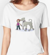 Stilysh girl with her dog Women's Relaxed Fit T-Shirt