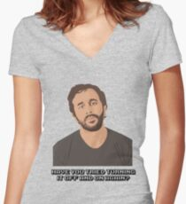 IT Crowd - Have You Tried Turning It Off & On Again Women's Fitted V-Neck T-Shirt
