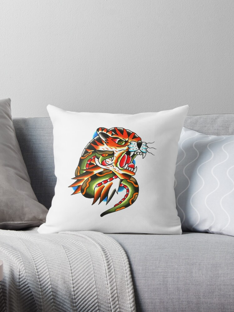 Traditional Tiger Head And Snake Tattoo Design Throw Pillows By