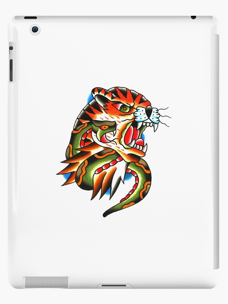 352c1dce3 Traditional Tiger Head and Snake Tattoo design