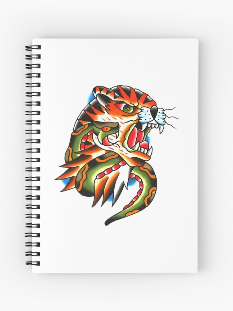 390c62c74e9ee Traditional Tiger Head and Snake Tattoo design