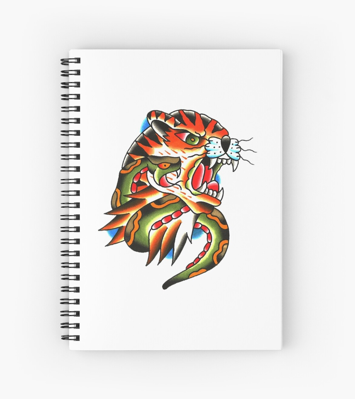 Traditional Tiger Head And Snake Tattoo Design Spiral Notebooks By