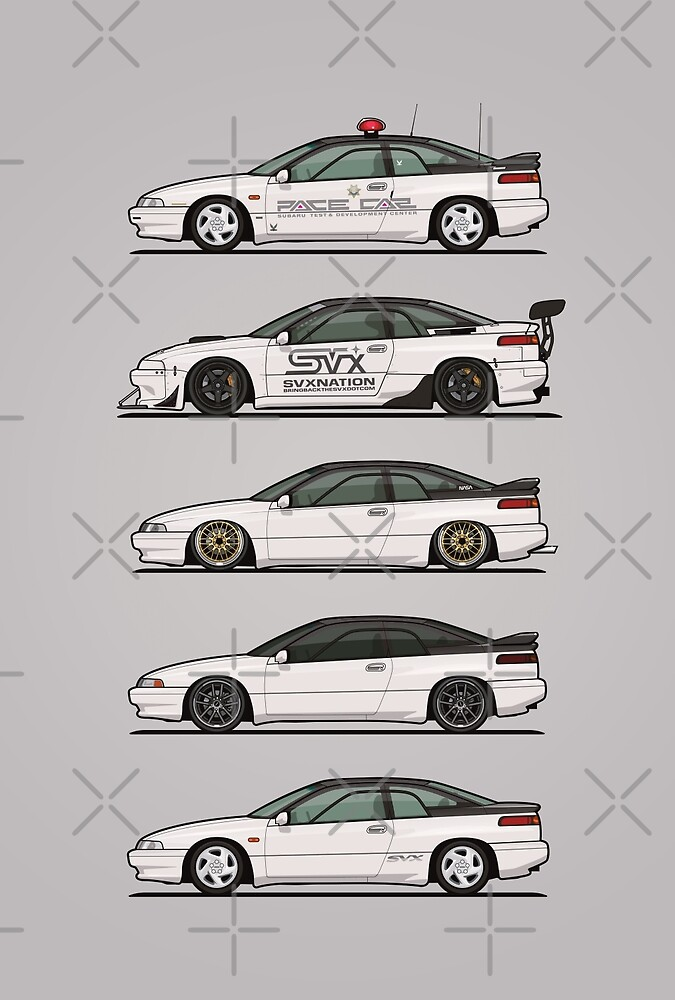 Stack of Pearl White Subaru Alcyone SVX by Tom Mayer