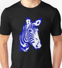 Zebra - Pop Art Graphic T-Shirt (blue) Unisex T-Shirt