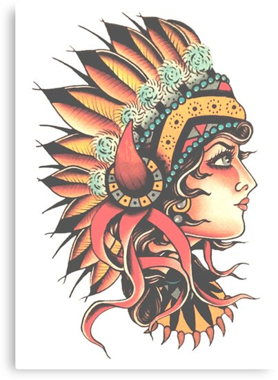 Traditional Native American Pin Up Girl Headresstattoo Design