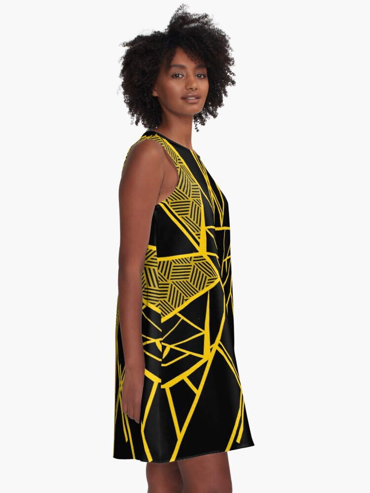 Alternate view of Black and Gold - Version 2 A-Line Dress