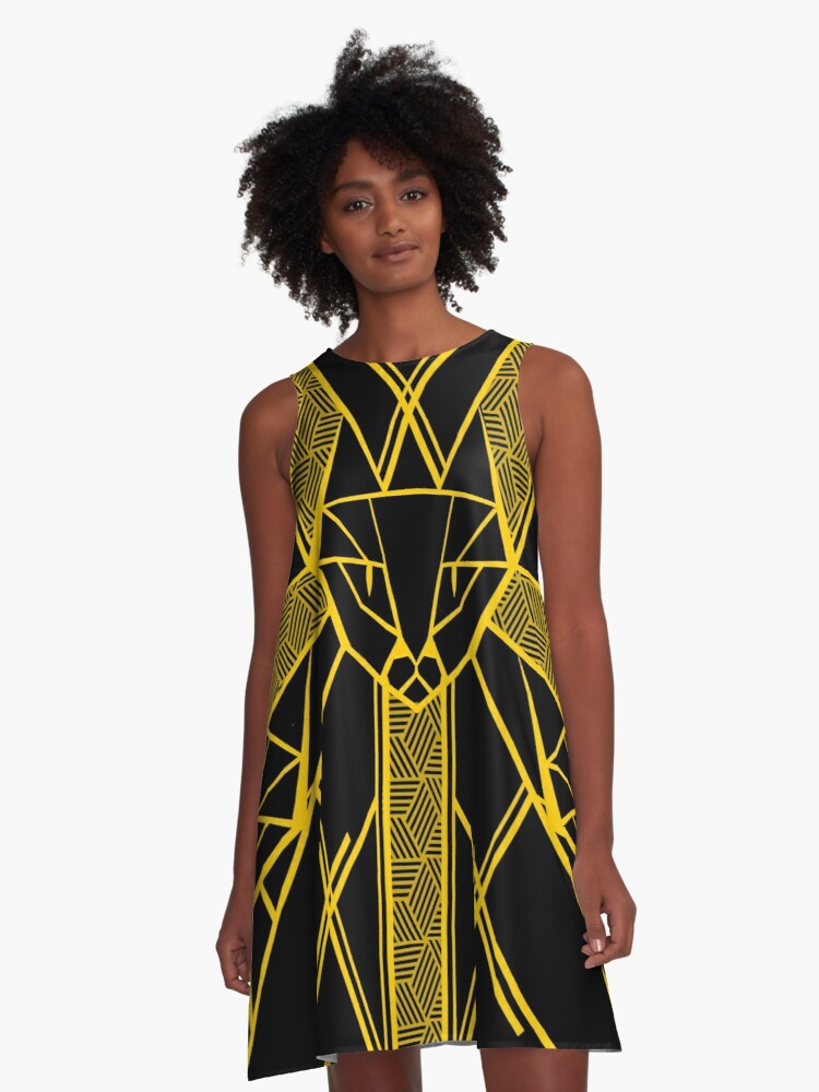 Black and Gold - Version 2 A-Line Dress Front